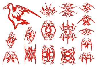 Tribal albatross set. Decorative patterns in the form of an albatross. Red on the white