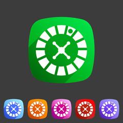 Casino gambling roulette wheel icon flat sign symbol logo