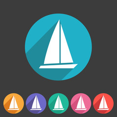 Sail boat yacht icon flat web sign symbol logo label