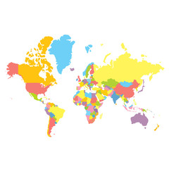 Colorfull vector political world map on white background. Each country colored in different color. Flat style mercator projection
