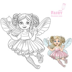 Cute little fairy girl with a Magic wand color and outlined pict