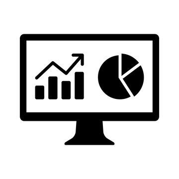 Financial analytic chart graphs on computer monitor dashboard flat icon