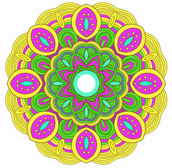 Vector round symmetrical hand drawn mandala in yellow, green and pink colors. Mandala. Kaleidoscopic design.