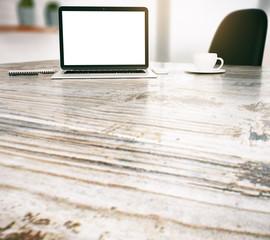 Desktop with white laptop