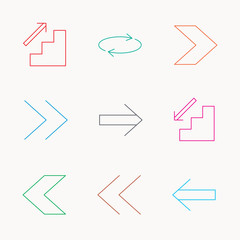 Arrows icons. Upstairs, repeat linear signs.