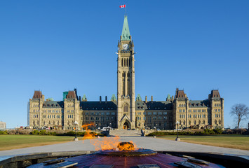 Parliament building in Ottawa, Canada - Centre Block, Peace Tower and Centennial Flame