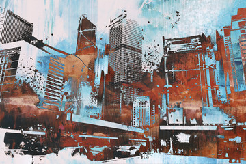 skyscraper with abstract grunge,illustration painting Wall mural