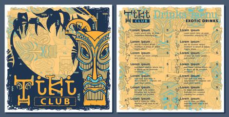 Tiki bar club menu, template design. Drinks flyer