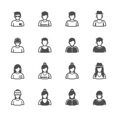 People Icons with White Background