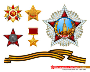 The great Patriotic war of 1941-1945. Military awards of the Soviet Union. Illustration on white background