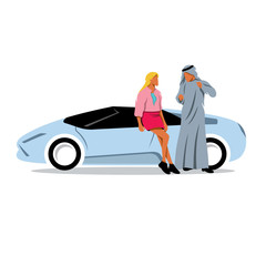 Arab sheikh and girl near the sport car. Vector Illustration.