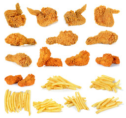 Fried chicken isolated on the white background