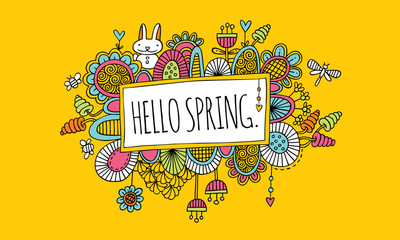 Hello Spring Doodle Vector Lineart with Yellow Background