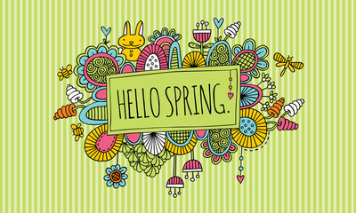 Hello Spring Doodle Vector Lineart with Striped Background