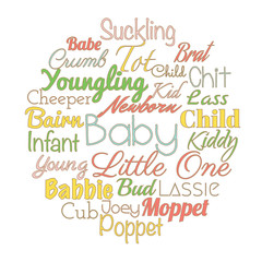'Baby' synonyms for baby shower party. Vector words collage.