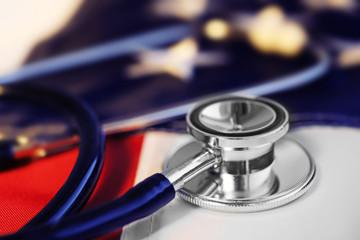 Stethoscope on American flag background