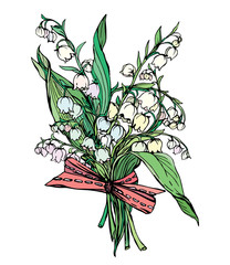 Lily of the valley - vintage engraved illustration of spring flo