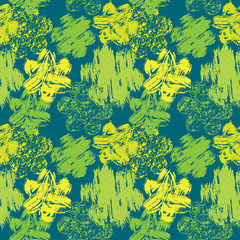 Seamless abstract pattern with grunge colorful flowers on green