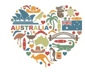 Symbols Of Australia in the shape of a heart