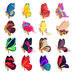 Butterfly icons set, cartoon style