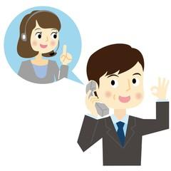 コールセンターに電話をかける男性