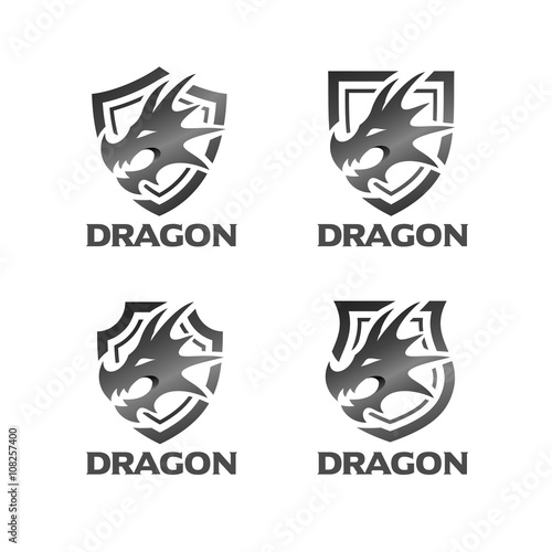dragon head with shield logo template stock image and royalty free