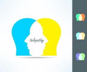 Telepathy people idea. Telepath person head icon. Telepathic brain ability concept