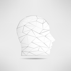 Human head profile silhouette isolated. 3d mans head avatar. Internet anonymous head profile pic. Social network guest avatar