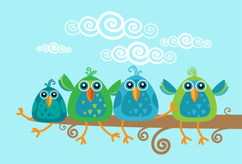 Group Of Birds Sitting on Branch