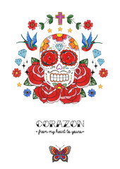 Day of the Dead Colorful Skull With Flowers. Watercolor Illustration.