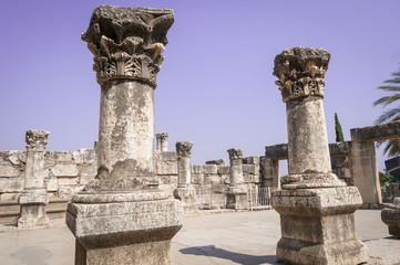 Synagogue of Jesus in Capernaum (Kfar Nahum). Israel, August 2012.