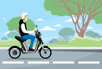 Man Ride Moped Electric Scooter, Motorcycle Wearing Hemlet Nature Background