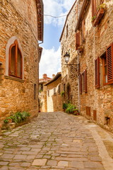 Old streets of greenery a medieval Tuscan town