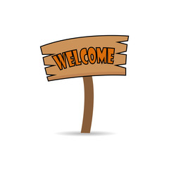 Welcome on wooden sign