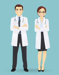 Male and female doctors isolated.