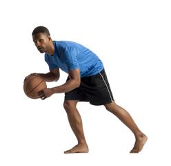man dribbling basketball ball