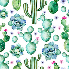 Fotobehang Aquarel Natuur Seamless pattern with high quality hand painted watercolor cactus plants,succulents and purple flowers.Pastel colors,Perfect for your project,wedding,greeting card,photo,blog,wallpaper,pattern,texture