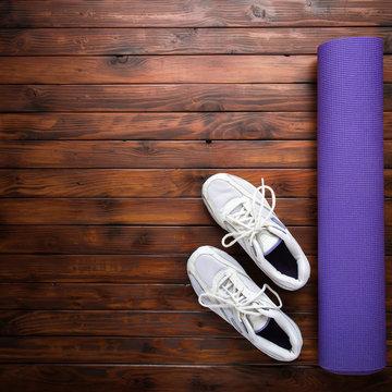 Yoga flat lay background