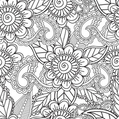 Coloring pages for adults. Seamles Henna Mehndi Doodles Abstract Floral Elements.