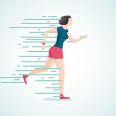 Running woman. The woman on the run. Isolated cartoon sportsman