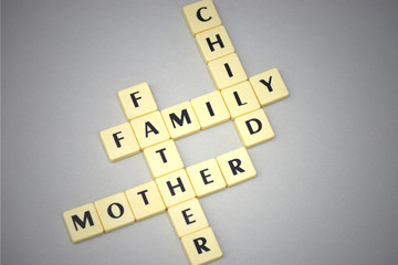 words family, mother, father and child on a gray background