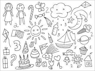 Doodle set of objects from a childs life