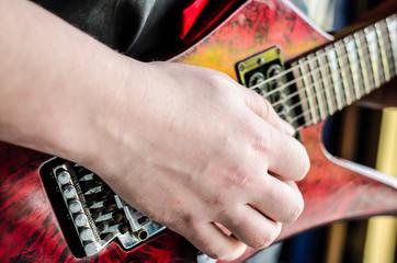 Musician bass guitar concert