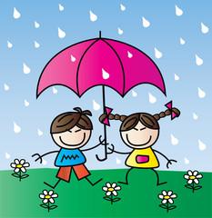 two happy children in the rain