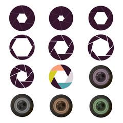 Vector camera shutter apertures photography focus equipment optical lens.