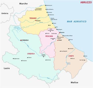 abruzzo administrative map, italy