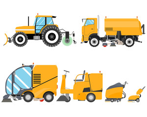 Heavy Equipment for Road cleaning and indoor. Cleaning equipment. Road works. Vector illustration