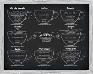 coffee scheme  calao, frappe,mocha, borgia, latte, irish, mazagr