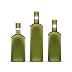 Vector Set of Alcohol Alcoholic Beverages Drinks Whiskey or Sunflower Olive Oil Glass Bottles Isolated on White
