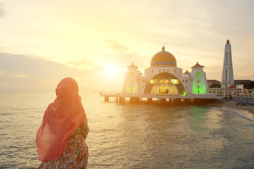 Malacca Straits Mosque with Muslim pray in Malaysia Wall mural